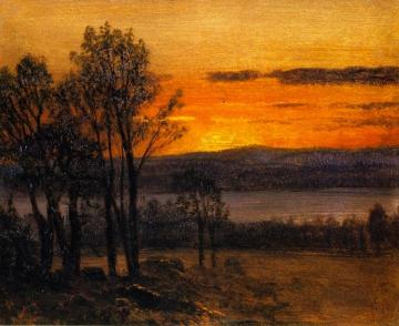 Sunset Sketch Artwork by Albert Bierstadt
