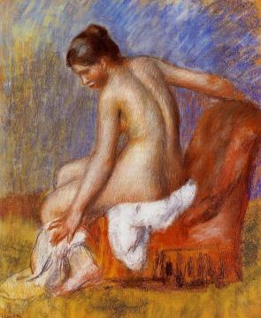 Nude in an Armchair Artwork by Pierre Auguste Renoir