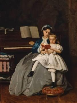 The Reading Lesson Artwork by Auguste Toulmouche