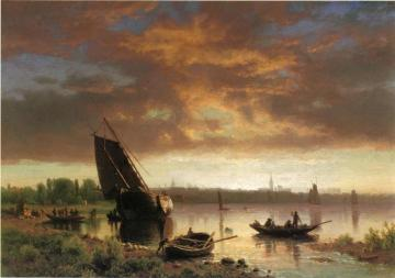 Harbor Scene Artwork by Albert Bierstadt