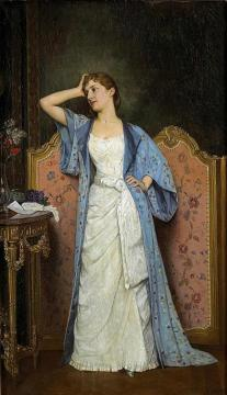 Young Woman By The Screen Artwork by Auguste Toulmouche