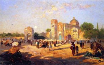 Mexican Plaza, Market Day Artwork by Thomas Moran