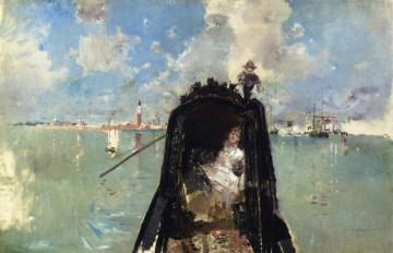 Woman In A Gondola With San Giorgio Maggiore In The Background Artwork by Robert Frederick Blum