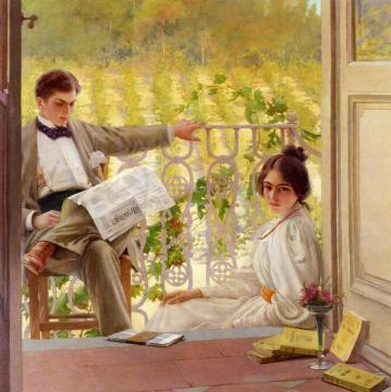 An Afternoono on the Porch Artwork by Vittorio Matteo Corcos
