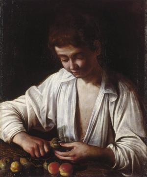 Boy Peeling Fruit Artwork by Caravaggio