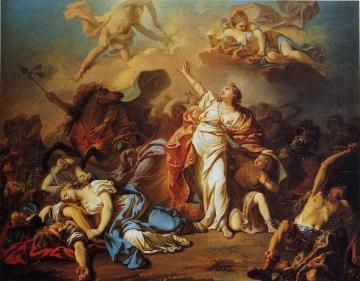 Diana and Apollo Piercing Niobe's Children with their Arrows Artwork by Jacques Louis David