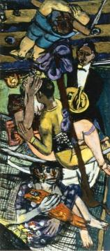 Acrobats, Triptych (Left Panel) Artwork by Max Beckmann