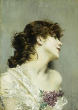 Profile Of A Young Woman Artwork by Giovanni Boldini