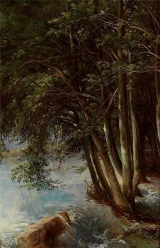 Trees at the Bank Artwork by Alexandre Calame