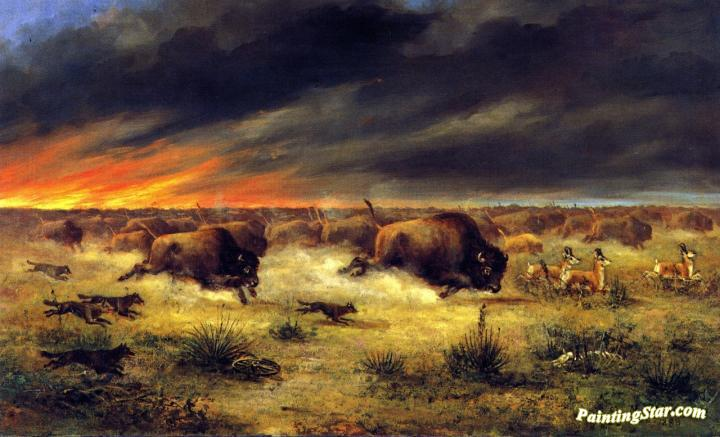 Buffalo For Sale >> Herd Of Buffalo Fleeing From A Prairie Fire Artwork By Meyer Straus Oil Painting & Art Prints On ...