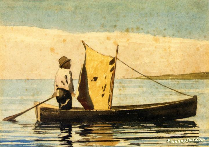 Boy In a Small Boat, Art Painting by Winslow Homer
