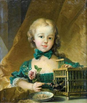 Portrait of Alexandrine Le Normant d'Étiolles, Playing with a Goldfinch Artwork by Francois Boucher