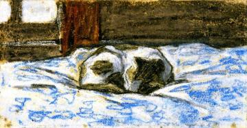 Cat Sleeping On A Bed Artwork by Claude Oscar Monet