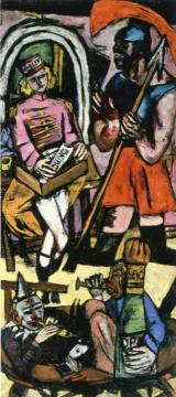 Acrobats, Triptych (Right Panel) Artwork by Max Beckmann