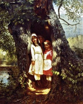 Hiding in the Old Oak Artwork by John George Brown