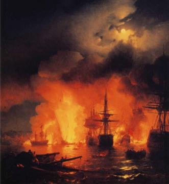 Battle of Aesme at Night Artwork by Ivan Constantinovich Aivazovsky