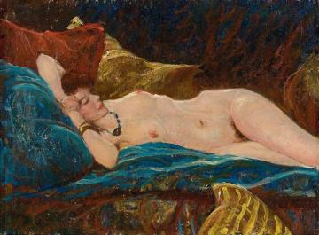 Reclining Nude Artwork by Harvey T. Dunn
