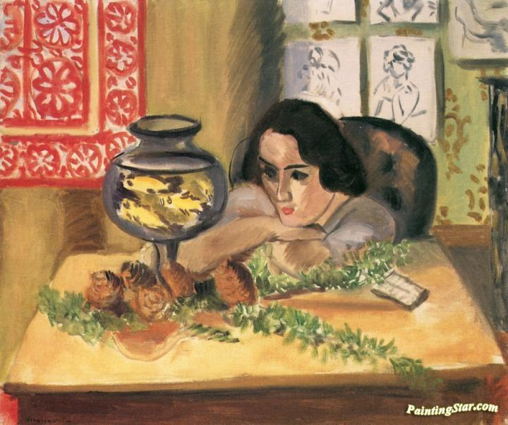 woman with goldfish bowl artwork by henri matisse
