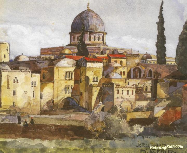Jerusalem Dome Of The Rock Artwork By Bartle Kleber Oil