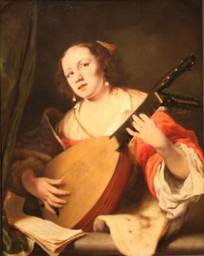 Lady Playing the Lute Artwork by Ferdinand Bol