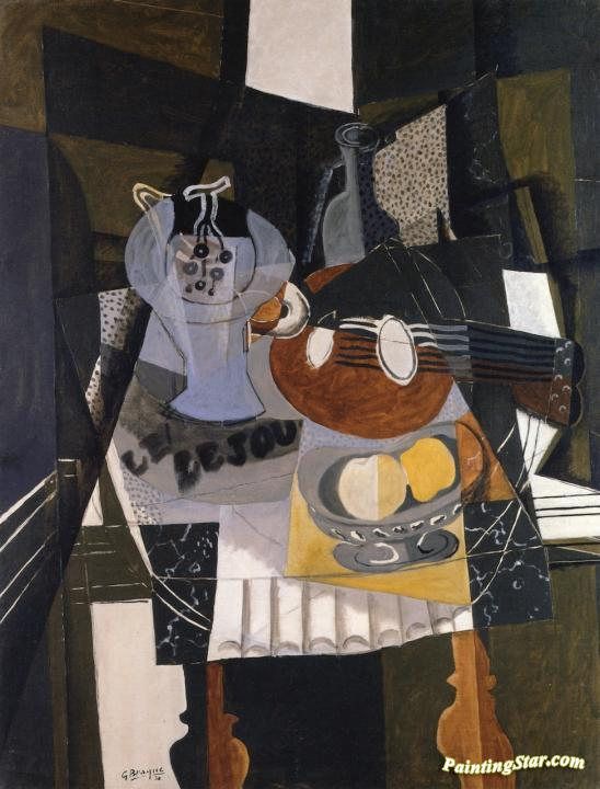 Still LIfe with Fruit Dish, Bottle and Mandolin Artwork by Georges Braque
