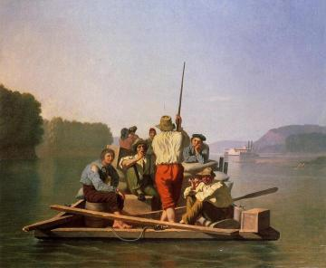 Lighter Relieving The Steamboat Aground Artwork by George Caleb Bingham