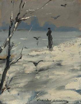 Elegant Woman On A Winter's Walk Artwork by Louise Abbema