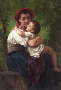 The LIttle Hug Artwork by William Adolphe Bouguereau
