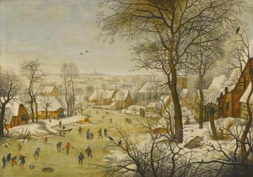 Winter Landscape With Skaters And Bird Trap Artwork by Pieter Bruegel the Elder