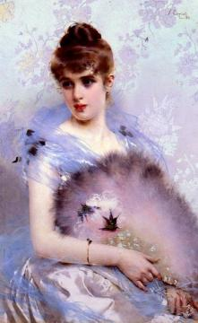 The Feathered Fan Artwork by Vittorio Matteo Corcos