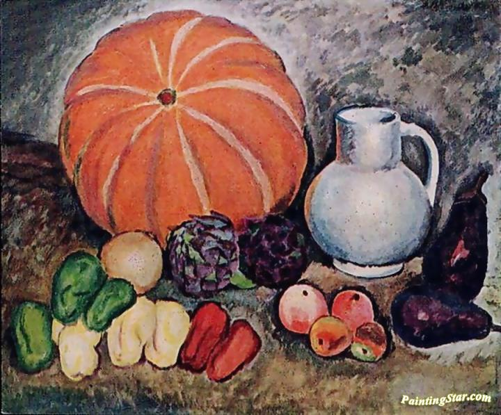 still life with pumpkin artwork by ilya mashkov oil painting art