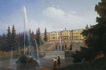 View of the Big Cascade in Petergof and the Great Palace of Petergof Artwork by Ivan Constantinovich Aivazovsky