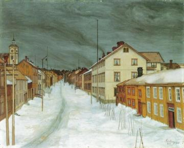 Street in Røros Artwork by Harald Oskar Sohlberg