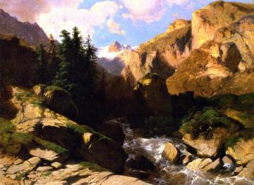 Mountain Torrent Artwork by Alexandre Calame