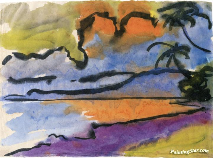 bay with palm trees artwork by emil nolde oil painting art prints