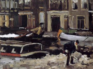 Snow Clearing On Amsterdam Canal Artwork by Floris Arntzenius