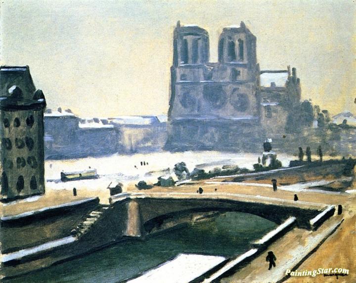 Notre Dame Under Snow Artwork By Albert Marquet Oil