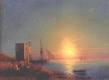 Figures In A Coastal Landscape At Sunset Artwork by Ivan Constantinovich Aivazovsky