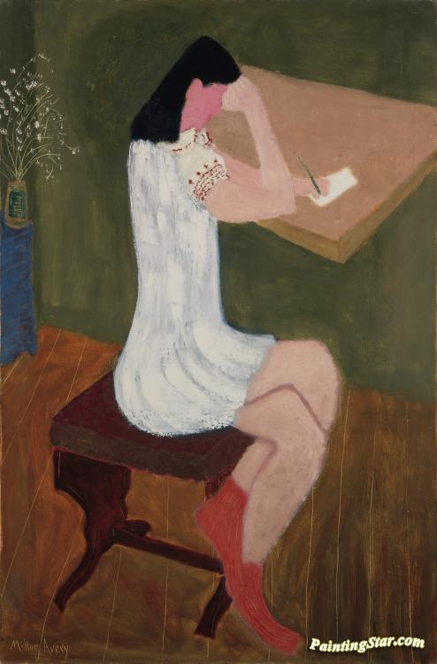 Girl Writing Artwork by Milton Avery