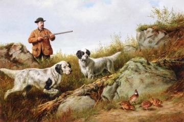 Amos F. Adams Shooting Over Gus Bondher and Son, Count Bondher Artwork by Arthur Fitzwilliam Tait