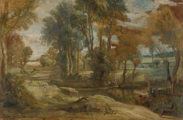 A Wagon Fording a Stream Artwork by Peter Paul Rubens