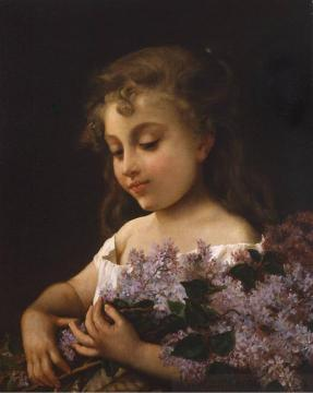 Girl with Lilacs Artwork by Emile Munier