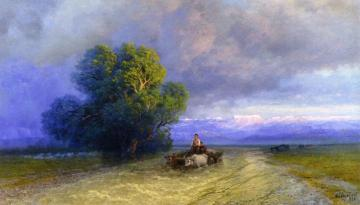 Ox Cart Crossing a Flooded Plain Artwork by Ivan Constantinovich Aivazovsky
