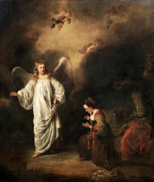 Hagar meeting the angel in the desert Artwork by Ferdinand Bol