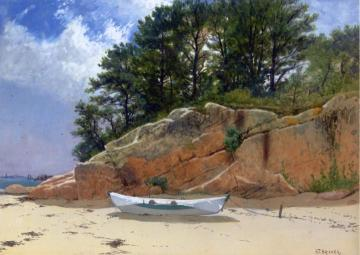 Dory on Dana's Beach, Manchester-by-the-Sea, Massachusetts Artwork by Alfred Thompson Bricher