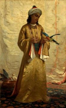 A Moorish Girl with a Parakeet Artwork by Henriette Browne