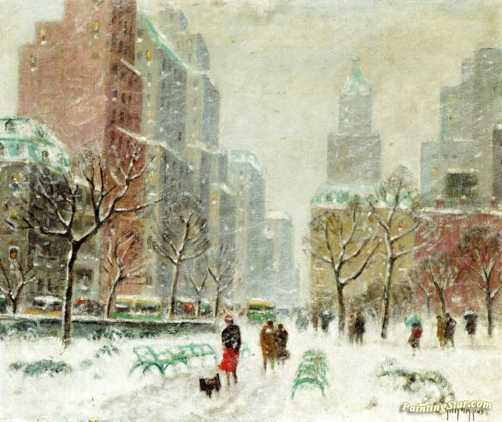 Winter In Central Park Artwork By Guy Wiggins Oil Painting Art Prints On Canvas For Sale Paintingstar Com Art Online Store