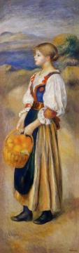 Girl with a Basket of Oranges Artwork by Pierre Auguste Renoir