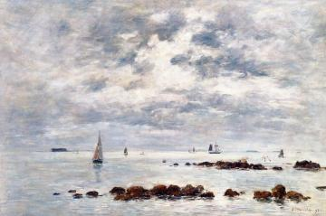 Low Tide, Saint-vaast-la-hougue Artwork by Eugène-Louis Boudin