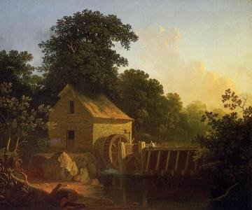Landscape with Waterwheel and Boy Fishing Artwork by George Caleb Bingham